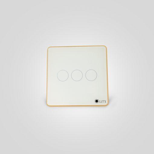 Công tắc thông minh cảm ứng 3 nút kính phẳng viền bo