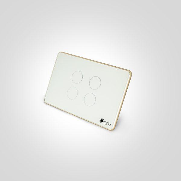 Công tắc thông minh cảm ứng 4 nút kính phẳng viền bo