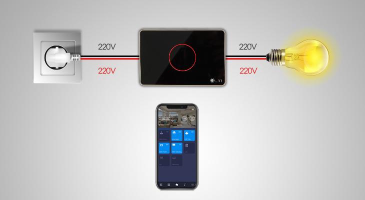 Cách đấu nối công tắc thông minh điều khiển bằng điện thoại