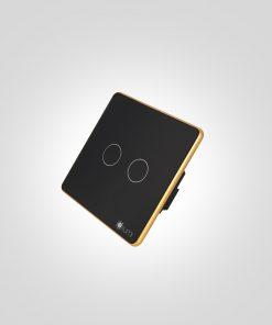 Công tắc thông minh cảm ứng 2 nút kính phẳng viền bo
