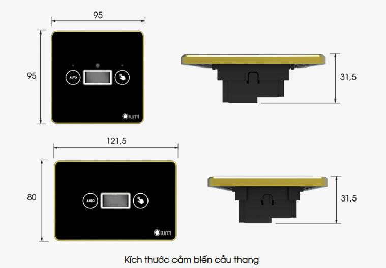 Kích thước công tắc cầu thang tích hợp cảm biến 2N1